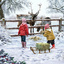 Charity Christmas Cards FEEDING THE REINDEER Helen & Douglas House Boxed Pk 10