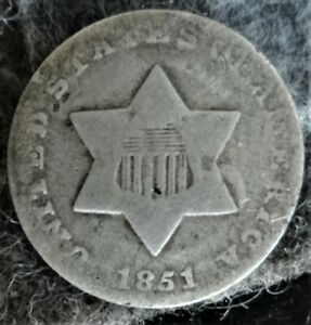 1851 US Silver Type 1 Trime - No Outlines to Star -3 Cents -Fish Scale