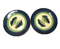 """Lot of TWO MOLDE Portugal Majolica Glazed Two Leaf Pattern 8 1/2"""" Salad Plates"""