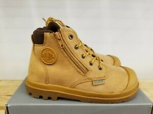 NEW IN THE BOX PALLADIUM PAMPA HI CUFF WATER PROOF AMBER GOLD  BOOTS FOR KIDS
