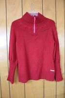 Columbia Womens Knit Sweater Size XL red Cotton Blend 1/4 Zip mock neck