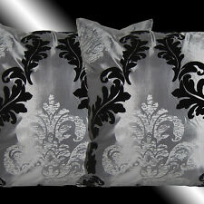 2 NEW GREY BLACK SILVER DAMASK PILLOW CUSHION COVERS 17