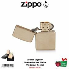 Zippo Armor Lighter, Tumbled Brass Finish, Windproof #28496