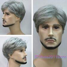 Gray Mixed Short Curly Menfolk Man Men Male Daily Wear Hair Wig+wig cap NO:A180