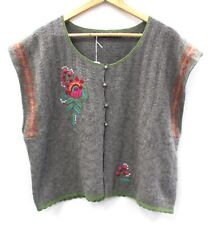 Ladies GUDRUN SJODEN Grey Wool Knit Cardigan Embroidered XL Preloved - T19