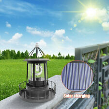 Solar Powered LED Rotating Lighthouse Light Outdoor Garden Lawn Lamp Yard Decor
