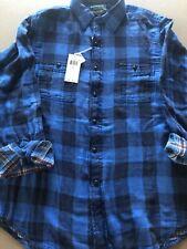 Polo Ralph Lauren Button Down Shirt Mens L Sportsman Flannel Blue Plaid NWT