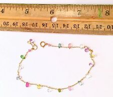 Perfect child's Multi gemstone briolette wire wrap link solid bracelet 18k gold