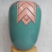 "1991 Andy Smith Raku Studio Art Pottery Ceramic Vessel Crackle 10"" Vase"