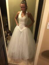 9cbc4f739147 Oleg Cassini Beaded Lace Halter Tulle Princess ball gown wedding dress