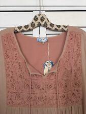 XL/1X New Peasant Top Dress Sundress Antique Pink Rose Boho Lace 14/16/18