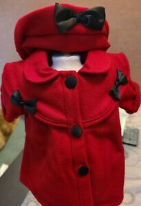 """New """"Red Wool Coat and Hat"""" Outfit #85571L fits 18"""" American Girl Dolls"""