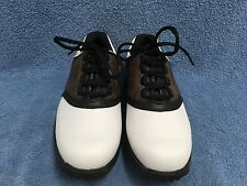 Footjoy Brown and White Saddle Style Soft Spike Golf Shoes Junior Youth Size 5 M