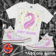 Unicorn Personalised Converse Kids All Star Hi Top, Free Matching T-shirt