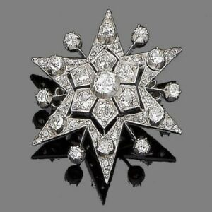 925 Sterling Silver Vintage Style Set Handmade White Round CZ Star Brooch Pin