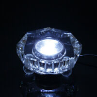 7 LED White lights Illuminated Crystal Display Stand Base w/ Power Adapter