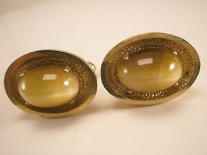 -Yellow Agate Stone Vintage ANSON Cuff Links Father's Day gift