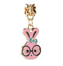 2pcs 18K gilded Pink Bunny fit European Charm Bracelet pendant Chain DIY #D114