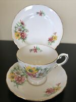 Tuscan Birthday Flowers October's Cosmos Trio Teacup Saucer Plate Set C1940+