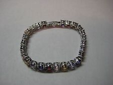 Bracelet Silver and 12.50ctw With 6MM color Gemstones 7 inch Long