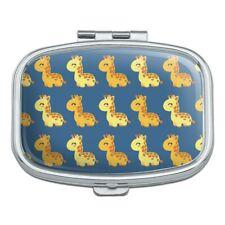 Cute Kawaii Baby Giraffes Pattern Rectangle Pill Case Trinket Gift Box