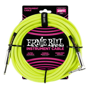 Ernie Ball Guitar Cable Lead 25FT Braided Neon Yellow - Angled Jack - Gift Idea