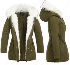NEW Womens Coat Padded Hood White Fur Parka Ladies Khaki Jacket Size 12 10 - 16