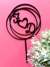 Personalised Initials Circle Wreath Wedding Cake Toppers - Wood / Acrylic