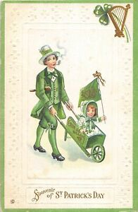 G36/ St Patrick's Day Holiday Postcard c1910 Pipe Man Wheelbarrowe Girl Flag 6