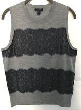 J.Crew Merino Wool and Lace Sleeveless Sweater Large New