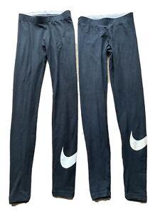 2 Pairs Black Nike White Tick Leggings XS