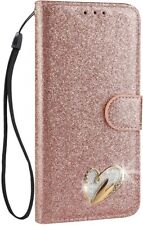 Samsung Galaxy S9 Plus Case Kickstand Dual Layer Leather Glitter Cover 6.2