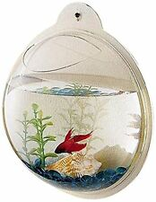 Wall Hanging Mount Betta Fish Bubble Aquarium Mini Bowl Tank