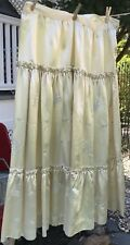 "Antique Satin Embroidered Skirt Off White A Line Full Style  36"" Waist"