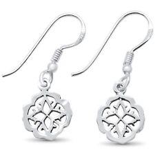 Plain Flower Design Dangling .925 Sterling Silver Earrings