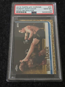 2019 Robert Whittaker Topps UFC Chrome Gold Refractor /50 PSA 10 GEM MT #37