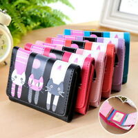 New Fashion Women Wallet Cute Cat Pattern Ladies Purse Short Cluth Card Holder