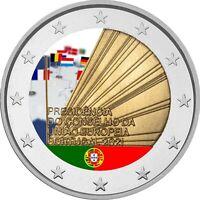 2 Euro Gedenkmünze Portugal 2021 coloriert  mit Farbe / Farbmünze EU Ratspr. 1
