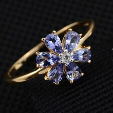 1.25Cts Violet Tanzanite & Zircon Flower 14K Y Gold/925 Ring Size M or N