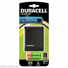 DURACELL 45 min VELOCE Caricabatteria Inc. x2 AA + x2 Batterie Ricaricabili AAA