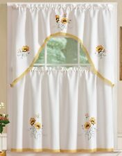 "3 pc. Embroidery Curtains Set: 2 Tiers & Swag (60"" x 36"") REGAL SUNFLOWERS by RT"
