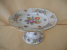Antique Floral Dresden Reticulated Compote / Footed Dish