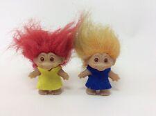 vintage 1980er Jahre Thomas DAM TROLL Dänemark 2 Trolle Haare rot & gelb