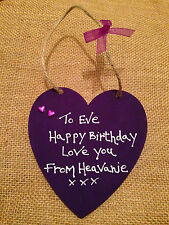 Personalised handmade hanging hearts, wooden, friends, birthdays, occasions