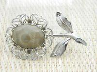 Petoskey Stone Silver Tone Flower Pin Brooch Vintage