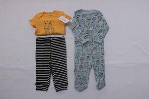 Carter's Baby Boys 3-Piece Monster Sleep & Play & Bodysuit Set Size 6 Months NWT