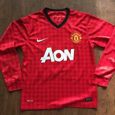 Men's Vintage Nike Manchester United Man U Red Long Sleeve Soccer Jersey Sz S