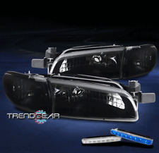 FOR 1997-2003 PONTIAC GRAND PRIX BLACK/SMOKE HEADLIGHT LAMP +BLUE LED DRL SIGNAL