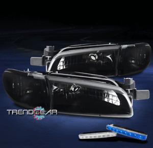 FOR 1997-2003 PONTIAC GRAND PRIX BLACK/SMOKE HEADLIGHT LAMP +BLUE LED DRL SIGNAL