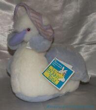 "NEW Vintage 80s Dan Dee Bunny Trail Plush 10"" Fluffy White & Lilac Swan Bird"